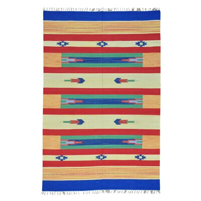 Rectangle 6 x 91 One-of-a-Kind Tomczyk Flat Weave Squarish Southwest Killim Hand-Knotted Cotton Area Rug