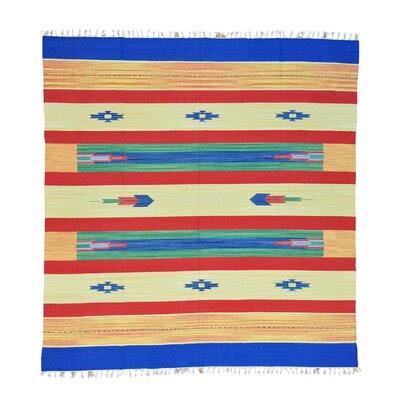 One-of-a-Kind Tomes Flat Weave Squarish Southwest Killim Hand-Knotted Cotton Multicolored Area Rug