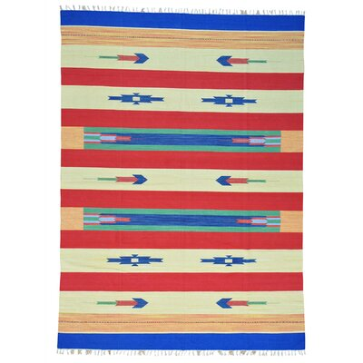 Rectangle 89 x 123 One-of-a-Kind Tomita Flat Weave Squarish Southwest Killim Hand-Knotted Cotton Area Rug