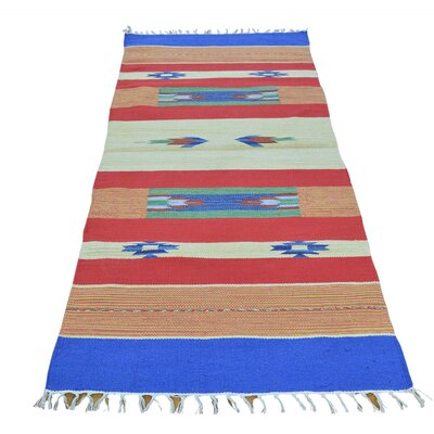 Runner 27 x 6 One-of-a-Kind Tomlin Flat Weave Squarish Southwest Killim Hand-Knotted Cotton Area Rug