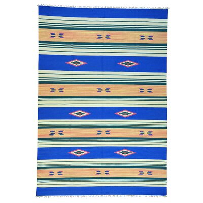Rectangle 10 x 145 One-of-a-Kind Tomohon Flat Weave Killim Reversible Hand-Knotted Cotton Area Rug