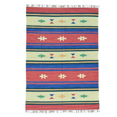 Rectangle 5 x 71 One-of-a-Kind Townson Flat Weave Killim Southwest Oriental Hand-Knotted Cotton Area Rug