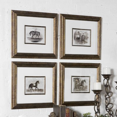 'Horses' 4 Piece Framed Painting Print Set