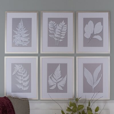 'Moonlight Ferns' 6 Piece Framed Painting Print Set