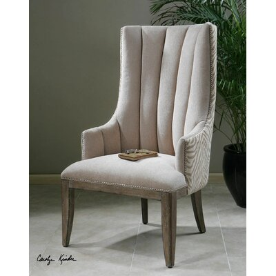 Zyla Chenille Wing back Chair