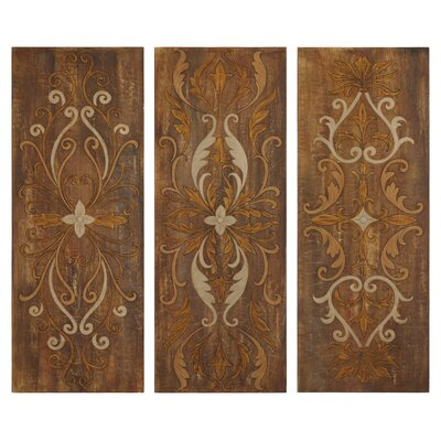 Elegant Swirl Panel Wall Art in Antique Glaze - Set of 3