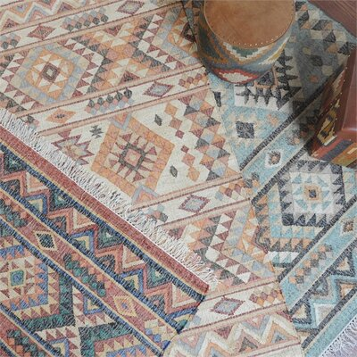 Gonzalez Hand-Woven Aqua Area Rug Rug Size: 8 x 10
