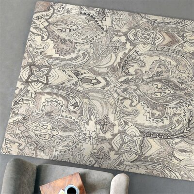 Claybrooks Hand-Tufted Wool Natural Area Rug Rug Size: 5 x 8
