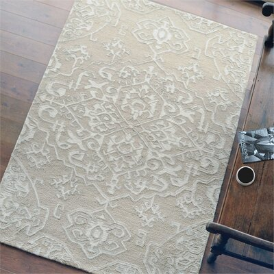 Brionna Hand-Woven Wool Beige/Ivory Area Rug Rug Size: 5 x 8