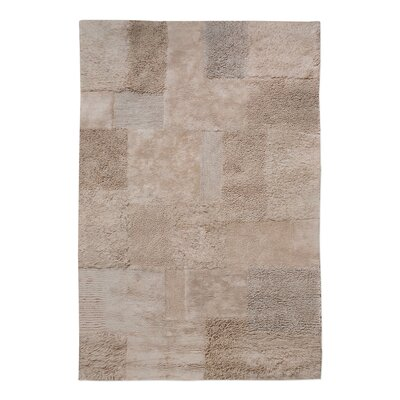 Kael Hand-Tufted Cotton Dark Beige Area Rug Rug Size: 9 x 12