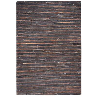 Macdonald Hand-Woven Dark Brown Area Rug Rug Size: 5 x 8