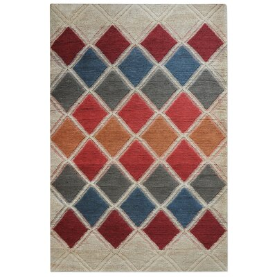 Brandy Hand-Woven Red/Blue Area Rug Rug Size: 9 x 12