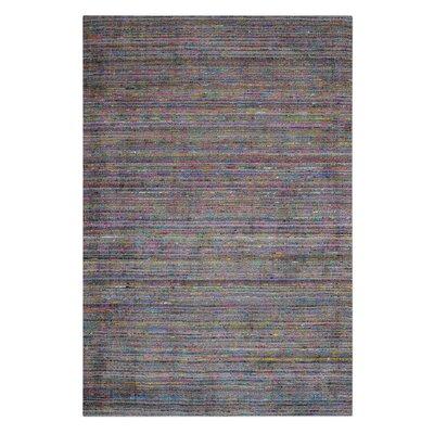 Newlon Hand-Woven Silk Gray Area Rug Rug Size: 5 x 8