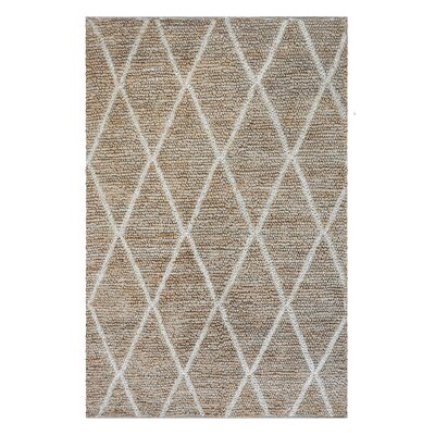 Nelms Hand-Woven Ivory Area Rug Rug Size: 5 x 8