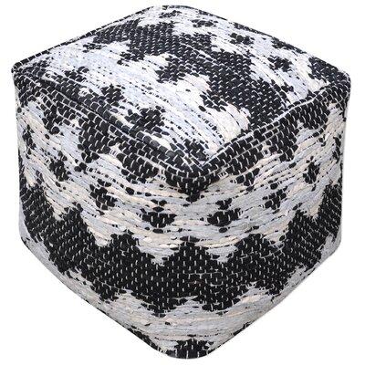 Cresley Leather Ottoman Upholstery: Ivory/Black