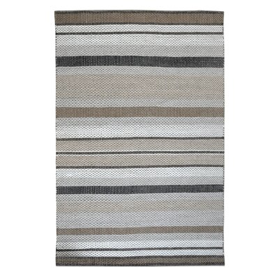 Heston Hand-Woven Wool Gray/Cream Area Rug Rug Size: 5 x 8