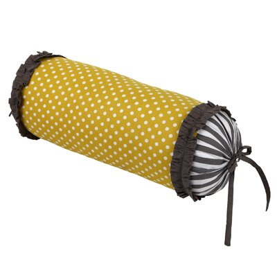 Dots/Pin Stripes Neck Roll Cotton Bolster Pillow Color: Grey/Yellow