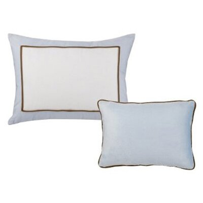 2 Piece Metro Decorative Cotton Throw Pillow Set Color: Blue and Chocolate