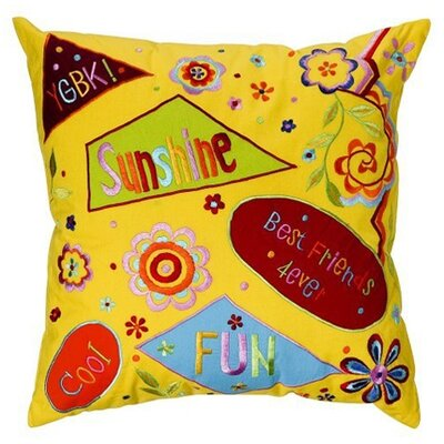 Sunshine Embroidered Cotton Throw Pillow