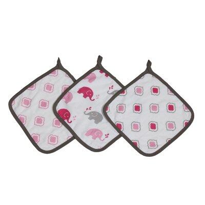 Yasmeen 3 Piece Muslin Wash Cloth Set Color: Pink/Grey