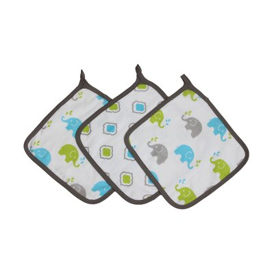 Yasmeen 3 Piece Muslin Wash Cloth Set Color: Aqua/Lime/Grey