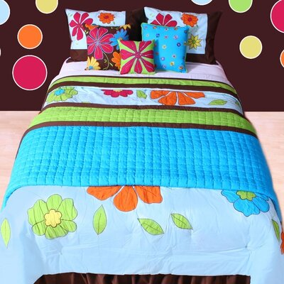 Valley of Flowers Quilt Size: Twin, Color: Turquoise / Lime