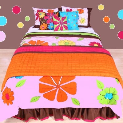 Valley of Flowers Quilt Size: Full / Queen, Color: Fuchsia / Orange
