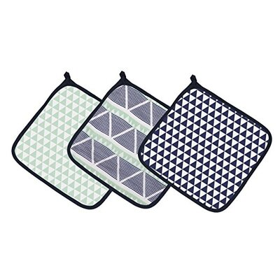 Emma Aztec Triangles Muslin 3 Piece Washcloth Set Color: Mint/Navy