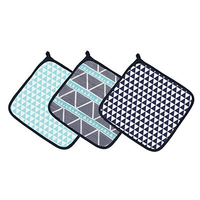 Liam Aztec Triangles Muslin 3 Piece Washcloth Set Color: Aqua/Navy