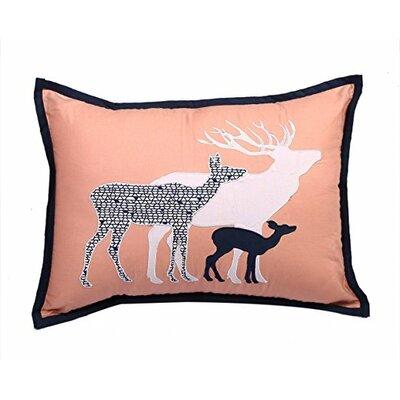 Tribal 100% Cotton Lumbar Pillow Color: Coral/Navy