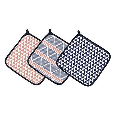 Emma Aztec Triangles Muslin 3 Piece Washcloth Set Color: Coral/Navy