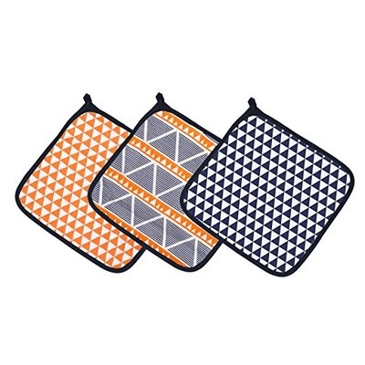 Liam Aztec Triangles Muslin 3 Piece Washcloth Set Color: Orange/Navy
