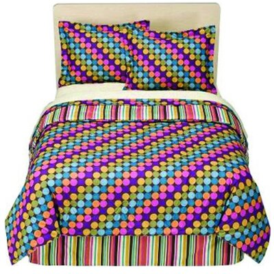 Dots and Stripes 3 Piece Comforter Set Size: Twin