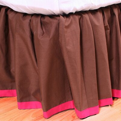 Valley of Flowers Bed Skirt Size: Twin, Color: Brown with Fuchsia