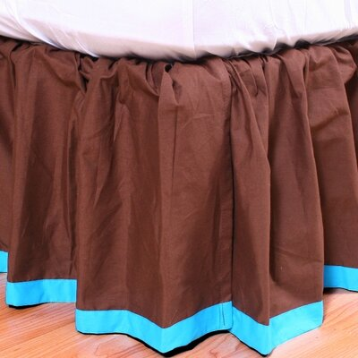 Valley of Flowers Bed Skirt Size: Full, Color: Brown with Turquoise