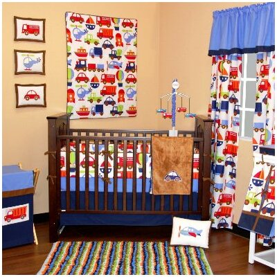 Transportation 10 Piece Crib Bedding Set with Bumper