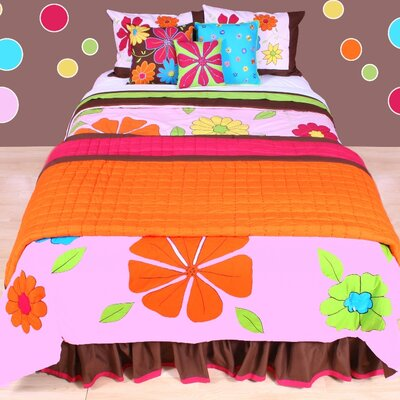 Valley of Flowers Comforter Set Size: Full/Queen, Color: Pink