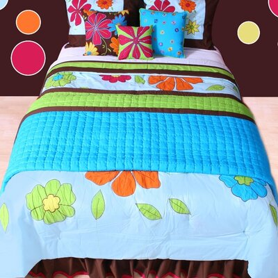 Valley of Flowers Comforter Set Color: Aqua, Size: Full/Queen