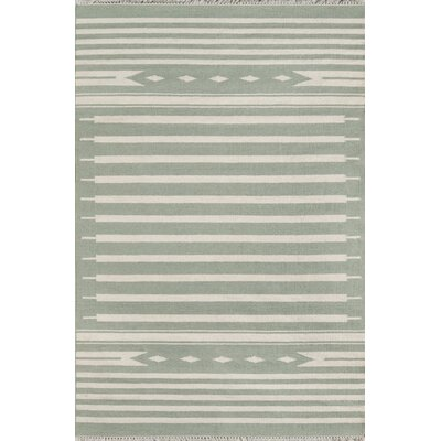 Thompson Billings Hand-Woven Wool Light Green Area Rug Rug Size: Rectangle 76 X 96