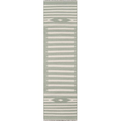 Thompson Billings Hand-Woven Wool Light Green Area Rug Rug Size: Runner 23 x 8