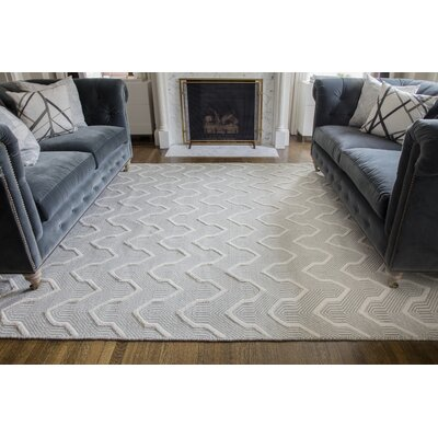 Langdon Prince Hand-Woven Wool Gray Area Rug Rug Size: Rectangle 76 x 96