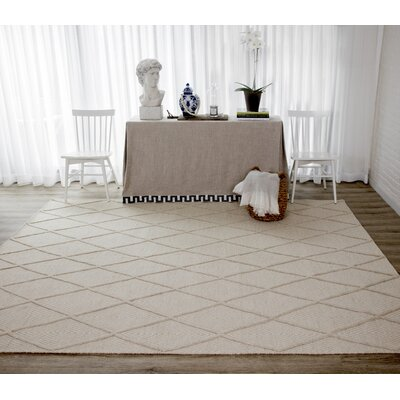 Langdon Spring Hand-Woven Wool Beige Area Rug Rug Size: Rectangle 76 x 96