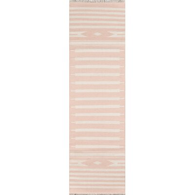 Thompson Billings Hand-Woven Wool Pink Area Rug Rug Size: Runner 23 x 8