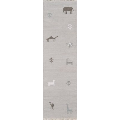 Thompson Porter Hand-Woven Wool Grey Area Rug Rug Size: Runner 23 x 8
