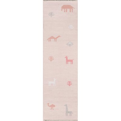 Thompson Porter Hand-Woven Wool Pink Area Rug Rug Size: Runner 23 x 8