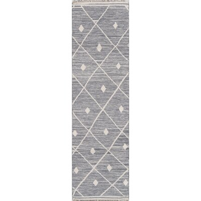 Thompson Appleton Hand-Woven Wool Grey Area Rug Rug Size: Runner 23 x 8