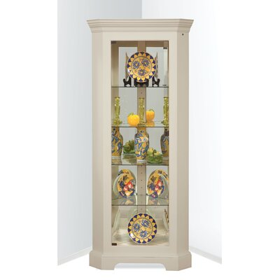 Newport II Lighted Corner Curio Cabinet Color: Sandshell White