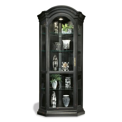ColorTime Solid Poplar Lighted Corner Curio Cabinet Color: Pirate Black