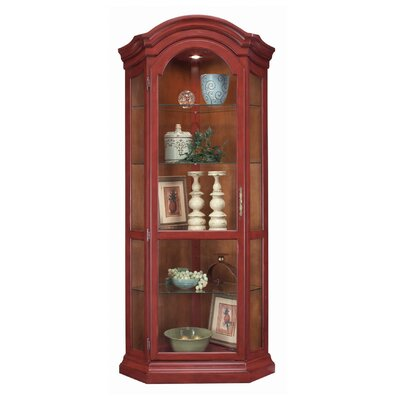ColorTime Solid Poplar Lighted Corner Curio Cabinet Color: Chili Pepper Red