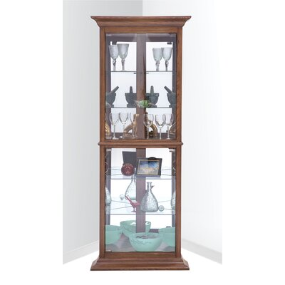 Gladstone Lighted Corner Curio Cabinet Color: Oak